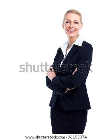 Accountant business woman. Isolated over white background. - stock photo