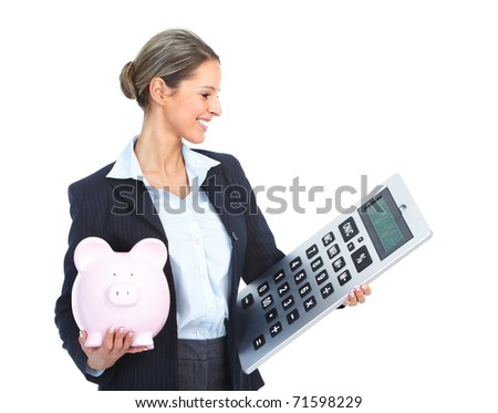 Accountant business woman with a big calculator  and a piggy bank - stock photo