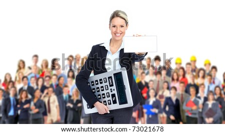 Accountant business woman with a big calculator and large groupe of people - stock photo