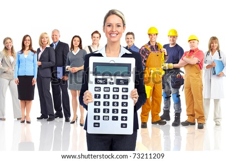 Accountant business woman with a big calculator and people - stock photo