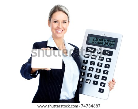 Accountant business woman with a big calculator.  Over white background - stock photo