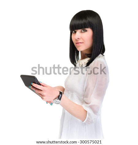 Accountant business woman with a calculator.  Over white background - stock photo