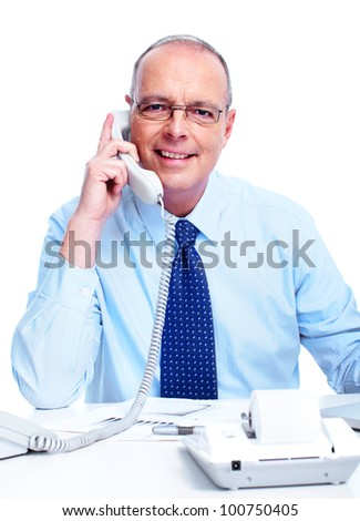 Accountant businessman calling by phone. Isolated on white background. - stock photo