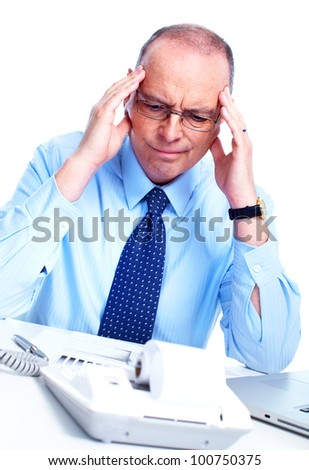 Accountant businessman having a stress. Isolated on white background. - stock photo
