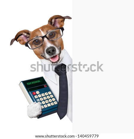 accountant dog behind blank page wearing a suit - stock photo