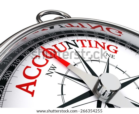 accounting concept compass isolated on white background - stock photo