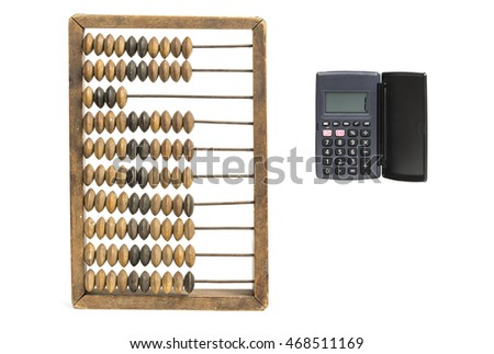 Accounting concept. Vintage accounts fig and calculator isolated on white
