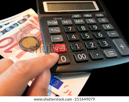 accounting concept with Euro and calculator in background - stock photo