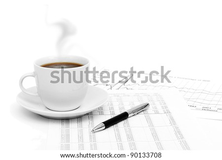 Accounting. Cup of coffee on - stock photo