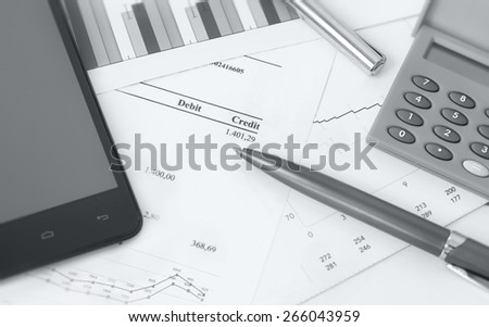 accounting management, finance bill with calculator - stock photo