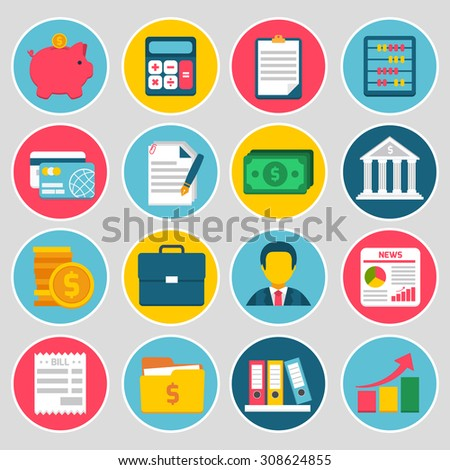 Accounting money budget stock icons set with piggy bank calculator credit card bill isolated  illustration