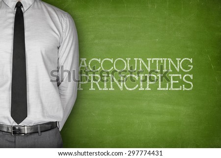 Accounting Principles on blackboard with businessman on side - stock photo