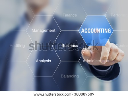Accounting teacher presenting a concept about business administration and auditing. Finger touching a digital button - stock photo