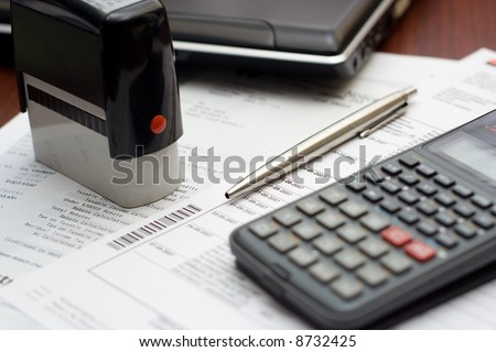 Accounting Tools Typical Business Table Setting - stock photo