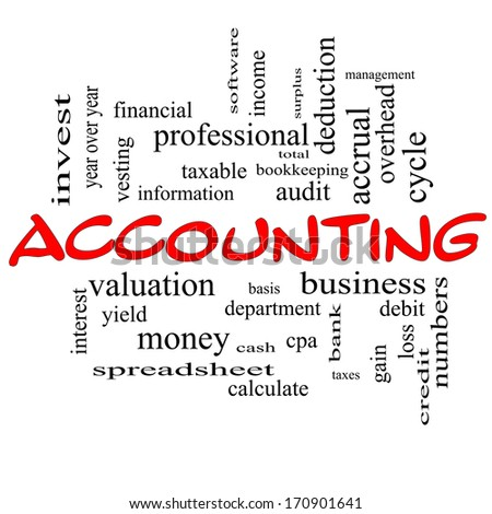 Accounting Word Cloud Concept in red caps with great terms such as debit, loss, audit, yield and more. - stock photo