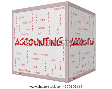 Accounting Word Cloud Concept on a 3D cube Whiteboard with great terms such as debit, loss, audit, yield and more. - stock photo