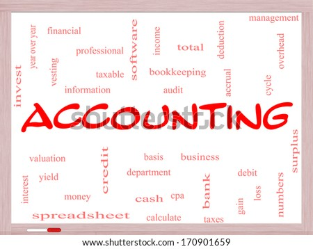 Accounting Word Cloud Concept on a Whiteboard with great terms such as debit, loss, audit, yield and more. - stock photo