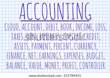 Accounting word cloud written on a piece of paper - stock photo