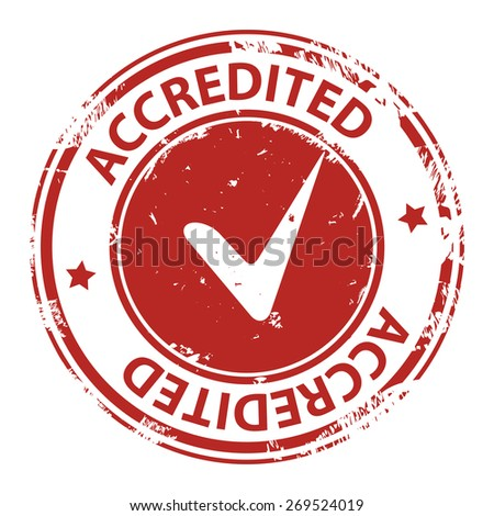 Accredited red stamp with tick or check rubber stamp icon isolated on white background. illustration - stock photo