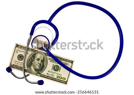Accurate Copy Of Hundred Dollar Bill And Stethoscope In Circle As Copy Space - stock photo