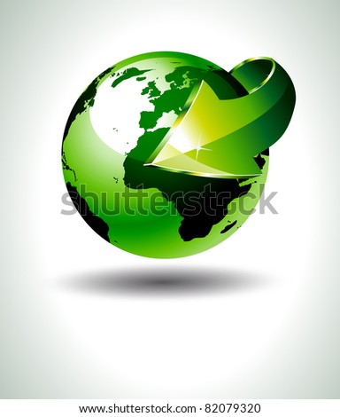 Accurate 3D Earth Design with Green tones and a big arrow pointing to the center of the planet. Ideal for green and ecology purposes. - stock photo