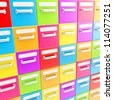 Accurate infinite rows of colorful glossy drawers as abstract business background - stock photo