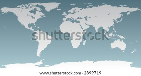 Accurate map of the world. Includes Antarctica. Maps to a sphere to make a globe accurately to latitude and longitude. Includes many islands - Hawaii, Galapagos,  etc. Includes largest lakes and seas. - stock photo