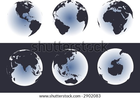 Accurate maps of the world on globes. Includes Antarctica. Also includes many islands - Hawaii, Aleutians, Galapagos, Maldives, Canary, etc. Lakes of the USA, Africa, Russia. - stock photo