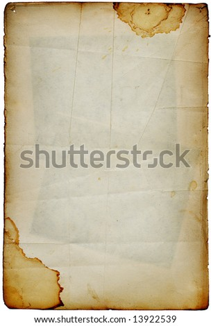 Accurate vintage folded antique stained paper page with dark stamps inside. Background on white - stock photo