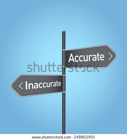 Accurate vs inaccurate choice concept road sign on blue background - stock photo