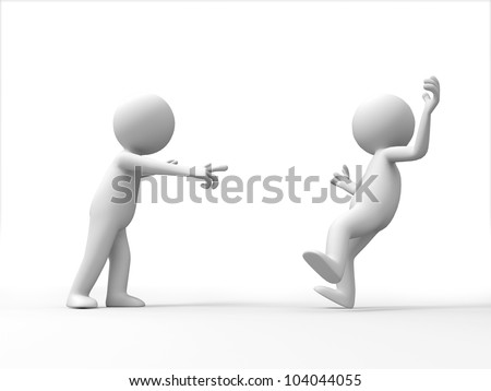 accused/A man in the accused another person - stock photo