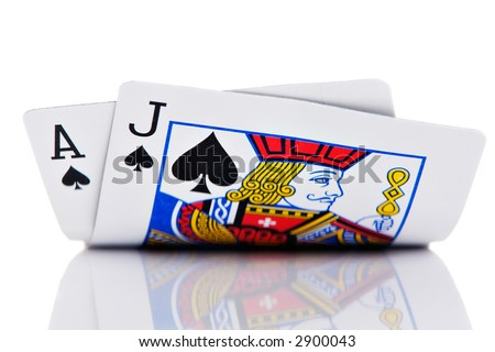 Ace and Jack hand on white - stock photo