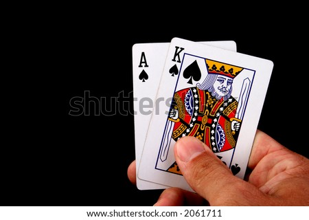 ace and king poker cards hand - stock photo