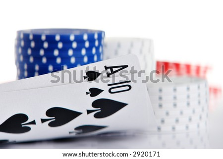 Ace and Ten of spade - stock photo