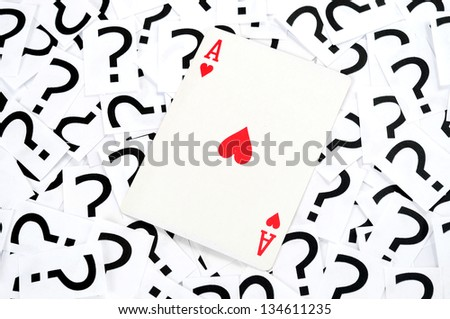 Ace card on question mark background - stock photo