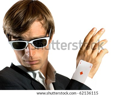ace card under sleeve - business man over white - stock photo