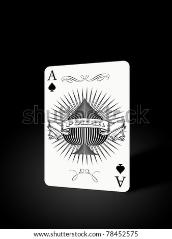 Ace isolated on black background with light effect - stock photo
