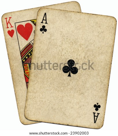 Ace King known as the Big slick poker hand. - stock photo