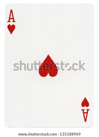 Ace of hearts playing card, isolated on white background. Scanned at 2400dpi using professional scanner. - stock photo