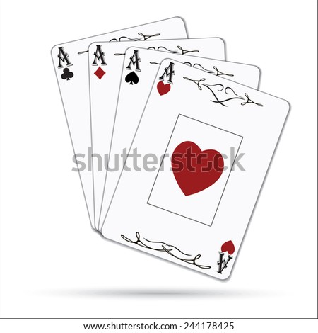 Ace of spades, ace of hearts, ace of diamonds, ace of clubs poker cards set isolated on white background - stock photo