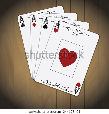 Ace of spades, ace of hearts, ace of diamonds, ace of clubs poker cards set varnished wood background - stock photo