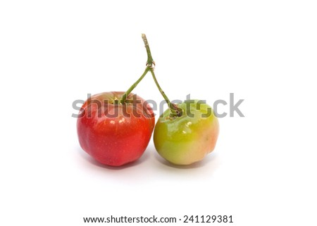 Acerola fruit isolated on the white background