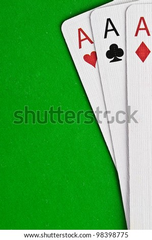 Aces against green cloth - stock photo
