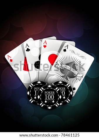 Aces and chips with light effect - stock photo