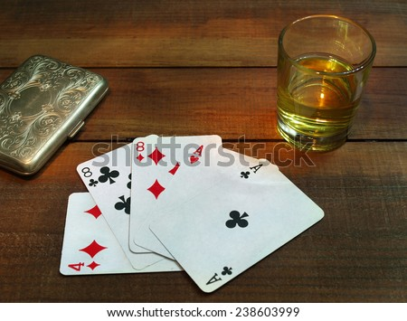Aces and eights,dead man�´s hand in poker  - stock photo
