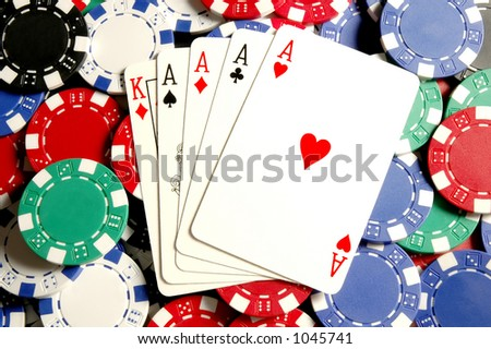 Aces on Poker chips