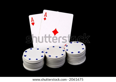aces poker cards and chips - stock photo