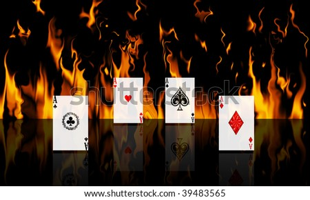 Aces with a fire background reflected on the floor - stock photo