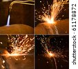 Acetylene torch and sparks during gas welding - stock