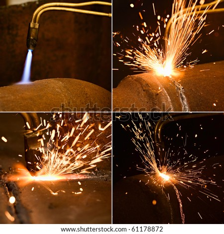 Acetylene torch and sparks during gas welding - stock photo